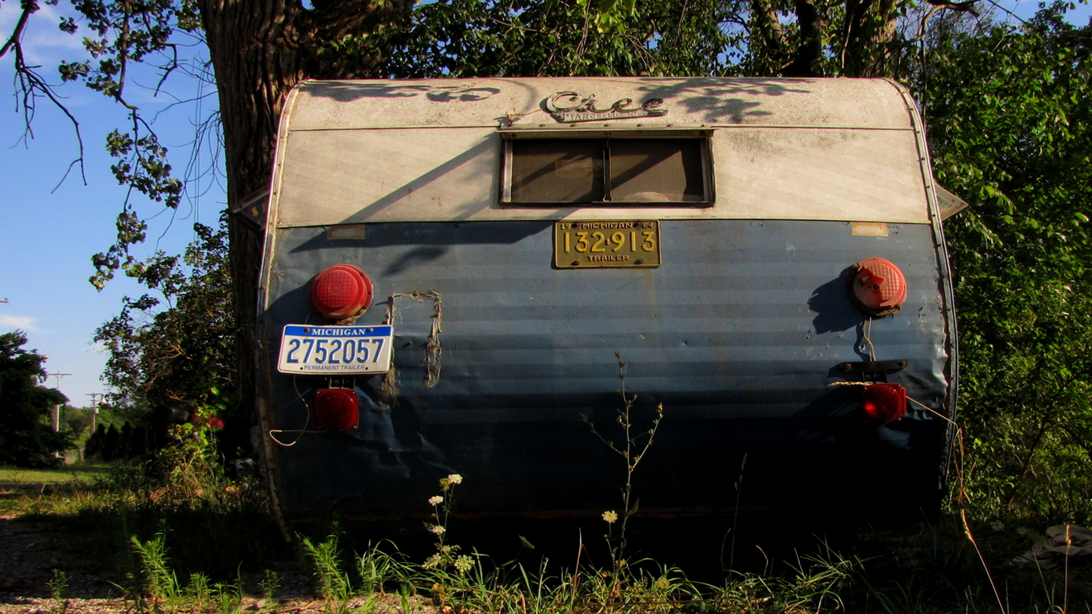 Camper near the trees