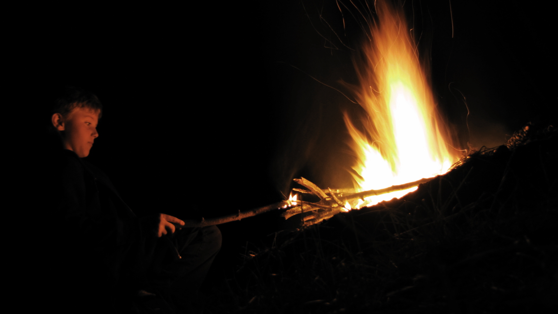 A stick in the campfire