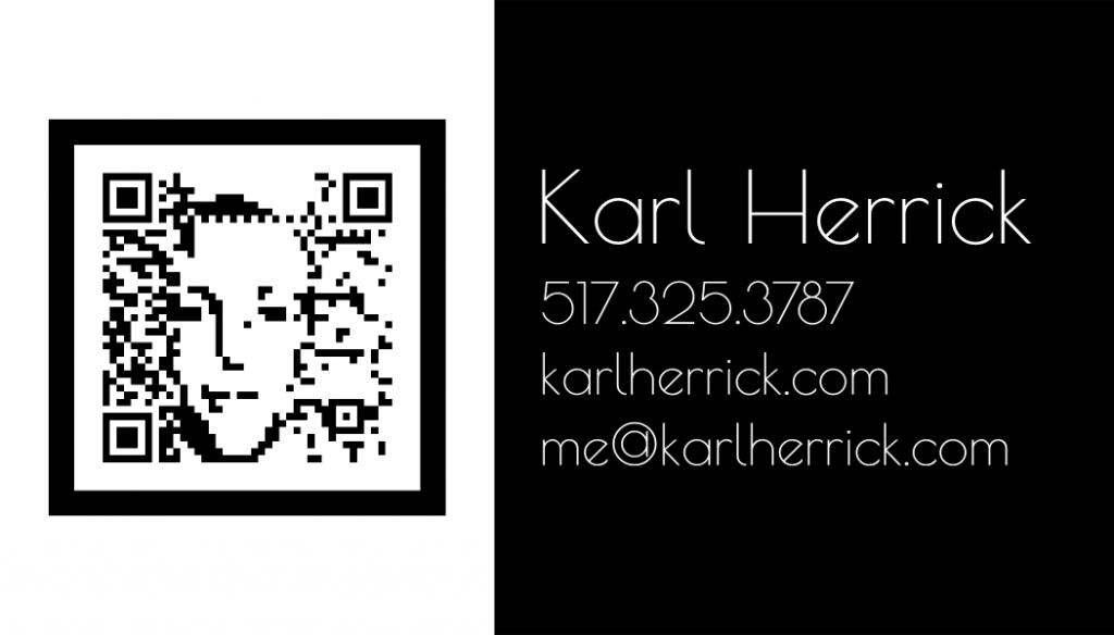 Herrick design qr code business card design 3 for Create qr code business card