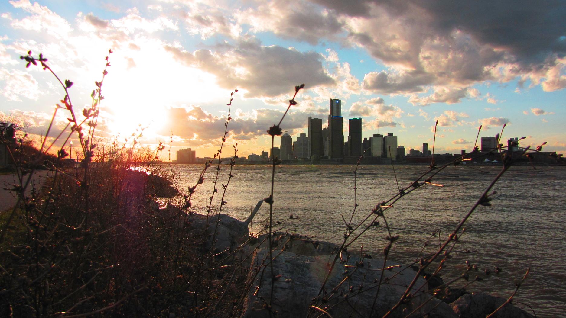 Detroit Skyline Sunset
