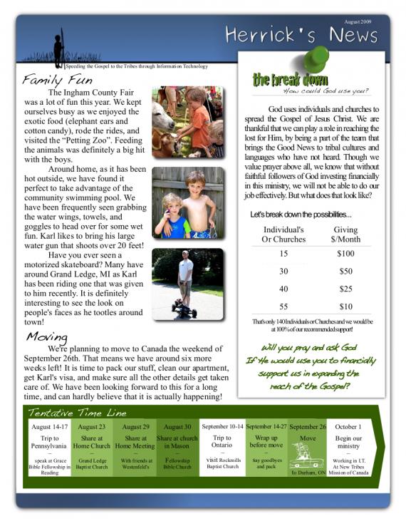 Newsletter Pg1- Aug 2009