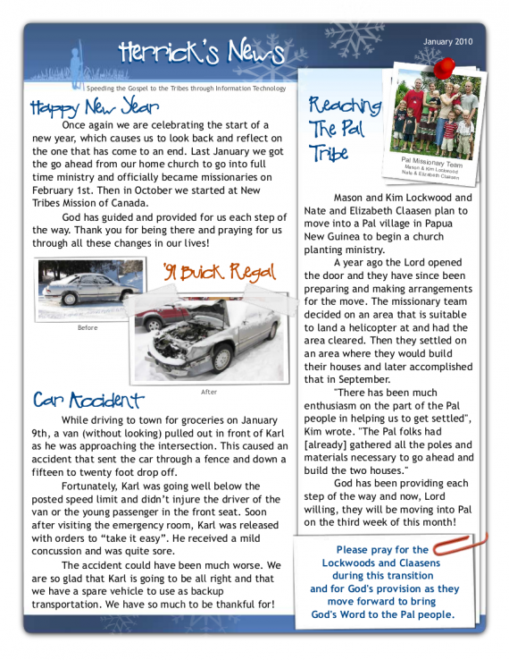 Newsletter Pg2- Jan 2010